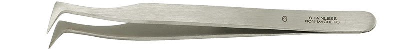 Value-Tec 6.NM general purpose tweezers, style 6, fully bent short tips, non-magnetic stainless steel